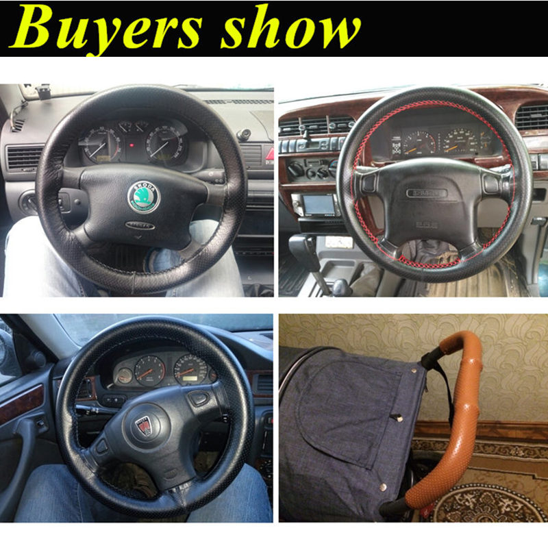 Image 2 - GSPSCN DIY Genuine Leather Car Steering Wheel Cover Soft Anti slip 100% Cowhide Braid With Needles Thread 36 38 40 cm Size-in Steering Covers from Automobiles & Motorcycles