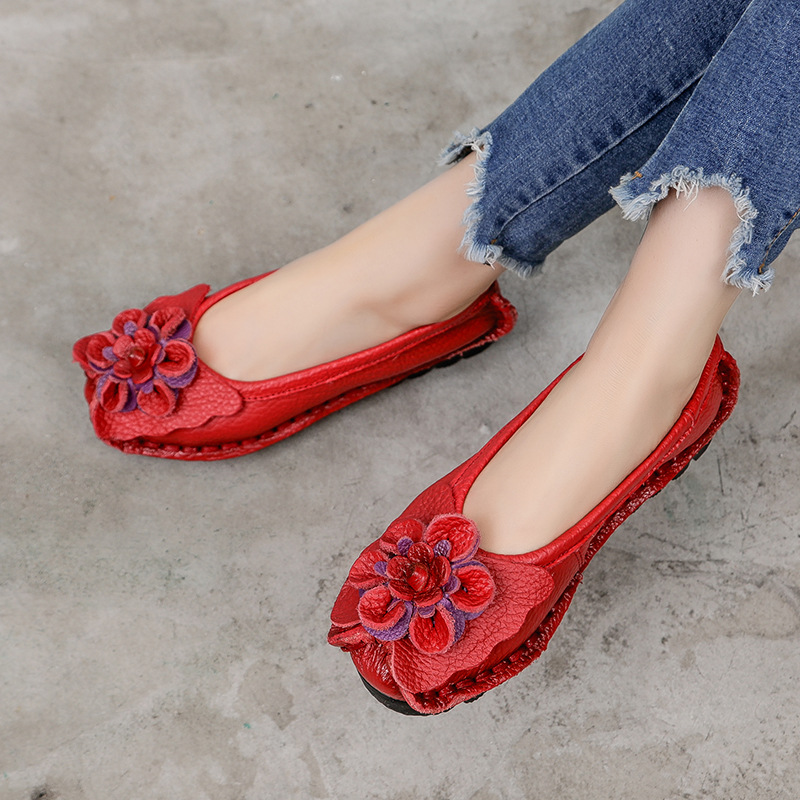 Loafers Women Shoes Flats Ladies Comfortable Genuine-Leather New Casual Retro