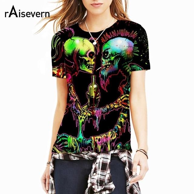 50dfd91eb32e Raisevern 2018 New Skull Couple Print 3D T Shirt Men Women Short Sleeve  T-shirt Harajuku Punk Tee Tops Plus Size Dropship
