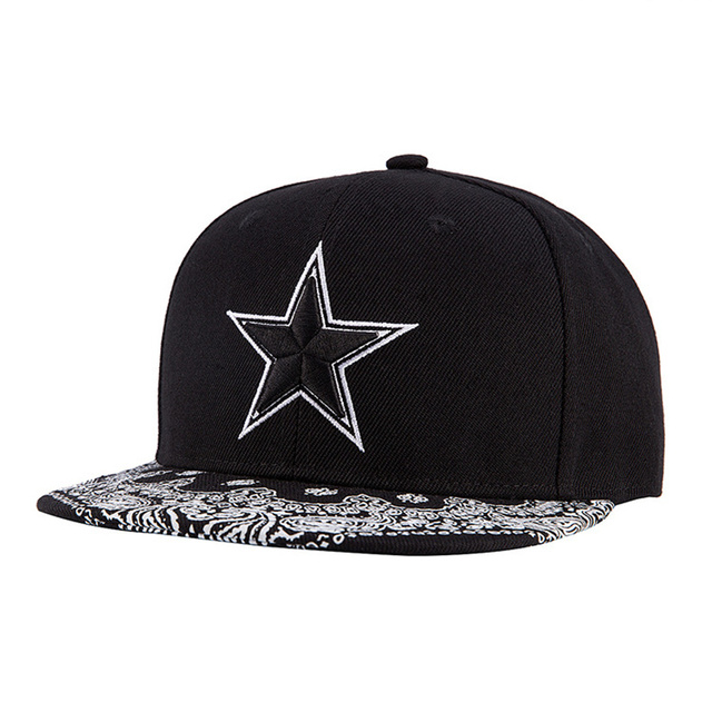 High Quality Gorras Planas Hip Hop Snapback Cap Canvas Embroidery Printing  Five-Pointed Star Hip 96364f46285