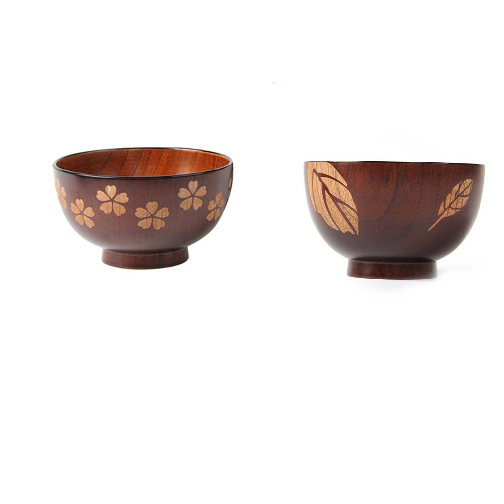 Sakura Solid Wood Bowl Handwork Painting and Carving for Miso Rice 11.5*7cm BS
