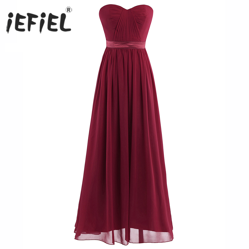 iEFiEL Elegant Dress for Women Ladies Chiffon Pleated High-Waisted Prom Birthday Gown Long Dress Vestidos Cocktail Parties Dress