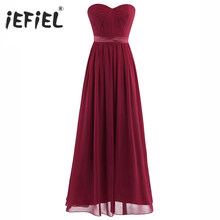 a9254fe71136 iEFiEL Elegant Dress for Women Ladies Chiffon Pleated High-Waisted Prom  Birthday Gown Long Dress