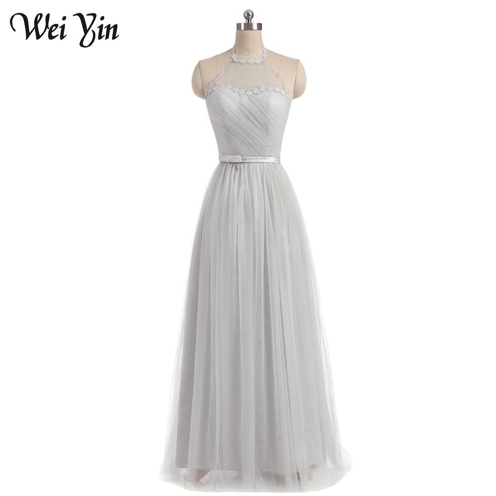 WeiYin New Fashion Flus Size Long Grey Color Tulle Long Vestido De Festa   Bridesmaid     Dresses