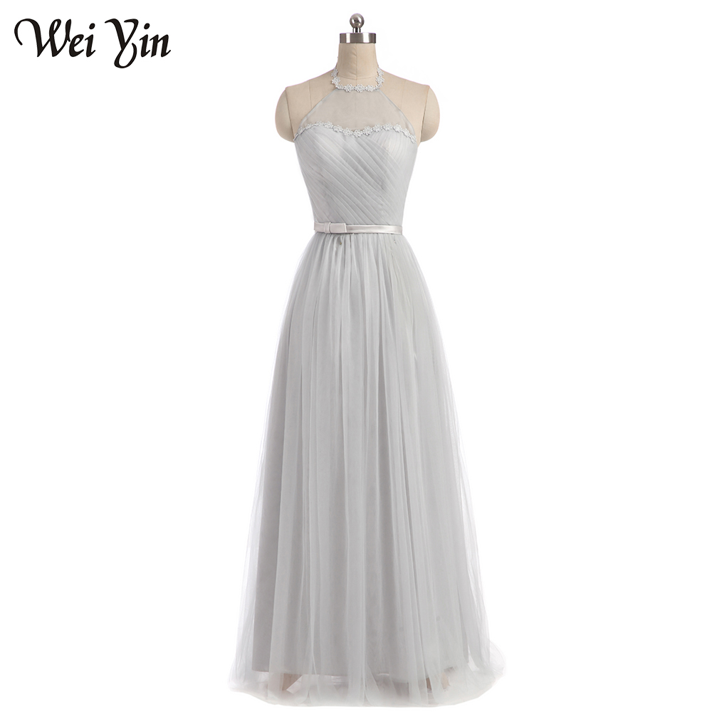 Online get cheap bridesmaid dresses tulle grey aliexpress weiyin new fashion flus size long grey color tulle long vestido de festa bridesmaid dresses ombrellifo Gallery