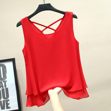Womens Chiffon T-shirt Summer 2019 New Fashion Casual Solid color Sleeveless Loose Tops Tees Female White Red Black Blue Yellow
