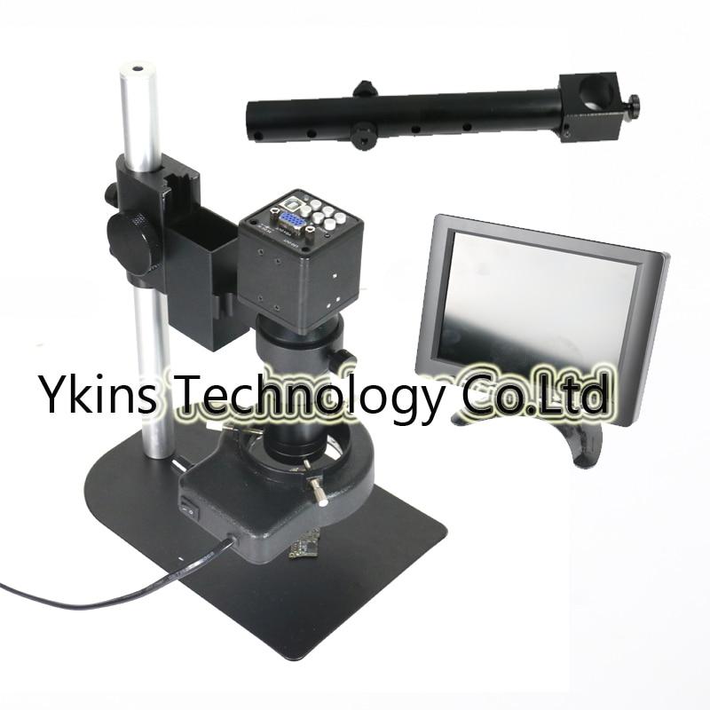 HD VGA USB Industry Video Microscope Camera Set+Mini Stand Universal bracket +8-130X C-MOUNT Lens+56LED Light 2 0mp hd industrial digital microscope camera vga cvbs usb av tv outputs 8x 130x optical c mount lens led lights holder