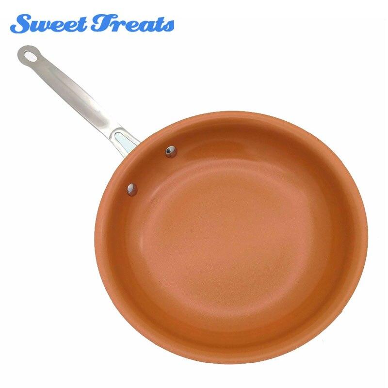 Sweettreats sartén de cobre antiadherente con revestimiento de cerámica y cocina de inducción, horno y lavavajillas seguros de 10 pulgadas y 12 pulgadas