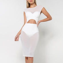 INDRESSME Sexy Hollow Out Midi Short Sleeve Women Bandage Party Dress Fashion Solid Bodycon Spring Women Dress Vestidos 2018 New