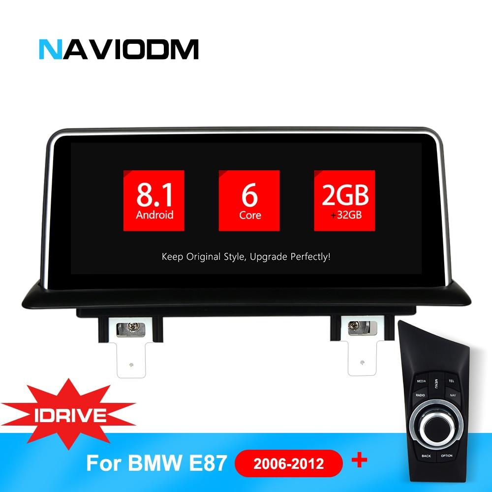 Android 8.1 6 Núcleo Reprodutor multimídia Carro Auto de Navegação Do Carro DVD Para BMW E87/E82/E81/E88 série sistema idrive 1 com joystick