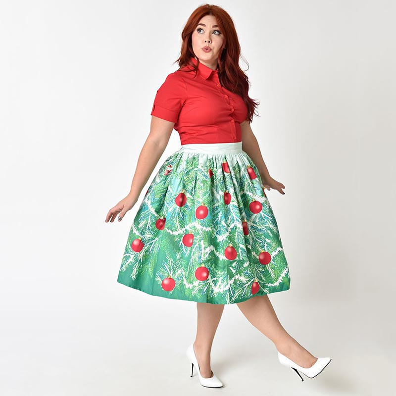 bee6c3590699 Women's Christmas Performance Evening Party Pretty Swing Skirt Carousel  Dancing Girls Print Cute A Line Pleated Skirt Plus Size-in Skirts from  Women's ...