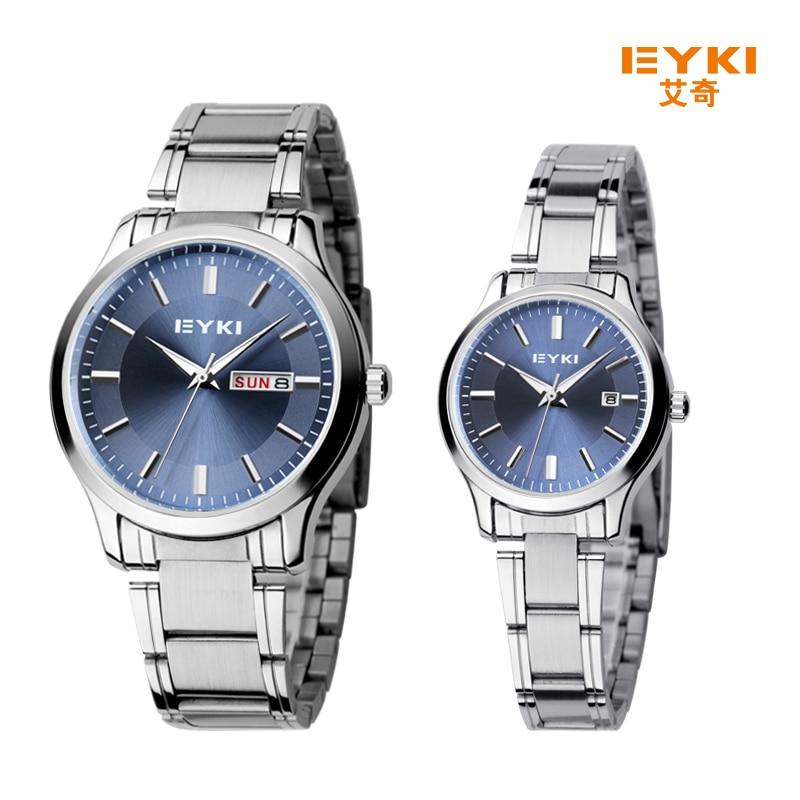 2017 New Eyki Men Women Business Couple Watch Stainless Steel Wrist Watches Luxury Brand Lovers Watch with Calendar montre femme