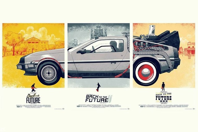 Movie fan art Canvas print back to the future car poster canvas painting wall pictures home decor for living room No frame F1779