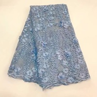 African 3D Applique French Tulle lace Fabric Mesh Net Lace Fabric with beads and stones for Wedding dress making