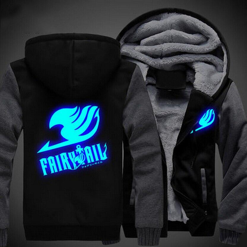 USA size Men Women Anime Fairy Tail Logo Cosplay Luminous Jacket Sweatshirts Thicken Hoodie Coat
