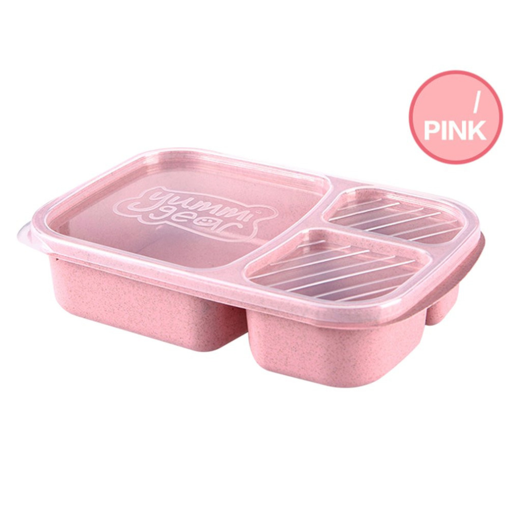 4 Colors Wheat StrawLunch Bento Box 3 Grids With Lid Microwave Food Box Storage Container Dinnerware Set image