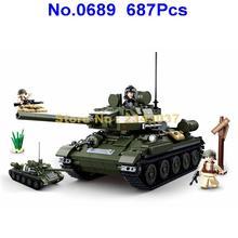 Sluban 0689 687 шт 2в1 Второй мировой войны Военный t34/85 2 танка строительные блоки 3 фигурки игрушки