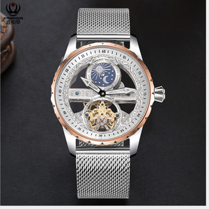 Image 2 - Cool Transparent Tourbillon Watches Men Self winding Mechanical Watch Steel Milanese Wrist watch Waterproof Montre Moon Phase