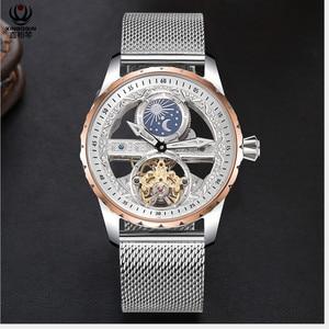 Image 2 - Legal transparente tourbillon relógios men auto enrolamento relógio mecânico aço milanês relógio de pulso à prova dwaterproof água montre fase da lua