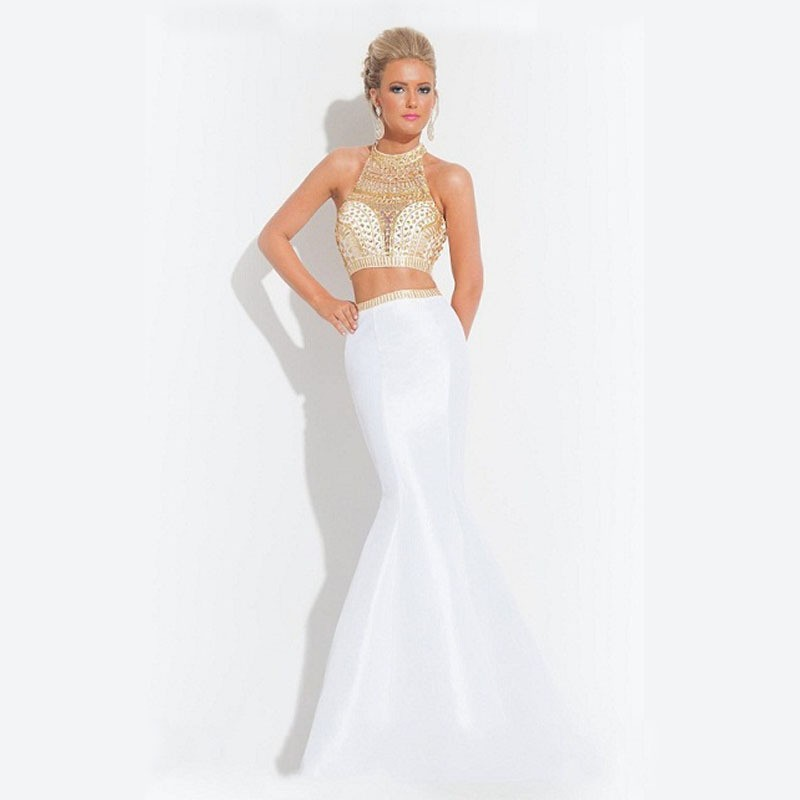 2017 Hot Custom Design White Gold Crystal Two Piece Prom Dresses ...