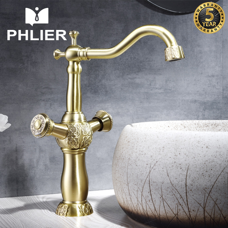 все цены на PHLIER Gold Bathroom Faucet Deck Mounted Hot and Cold Faucet for The Sink Solid Brass Water Mixer Bathroom Sink Basin Tap China