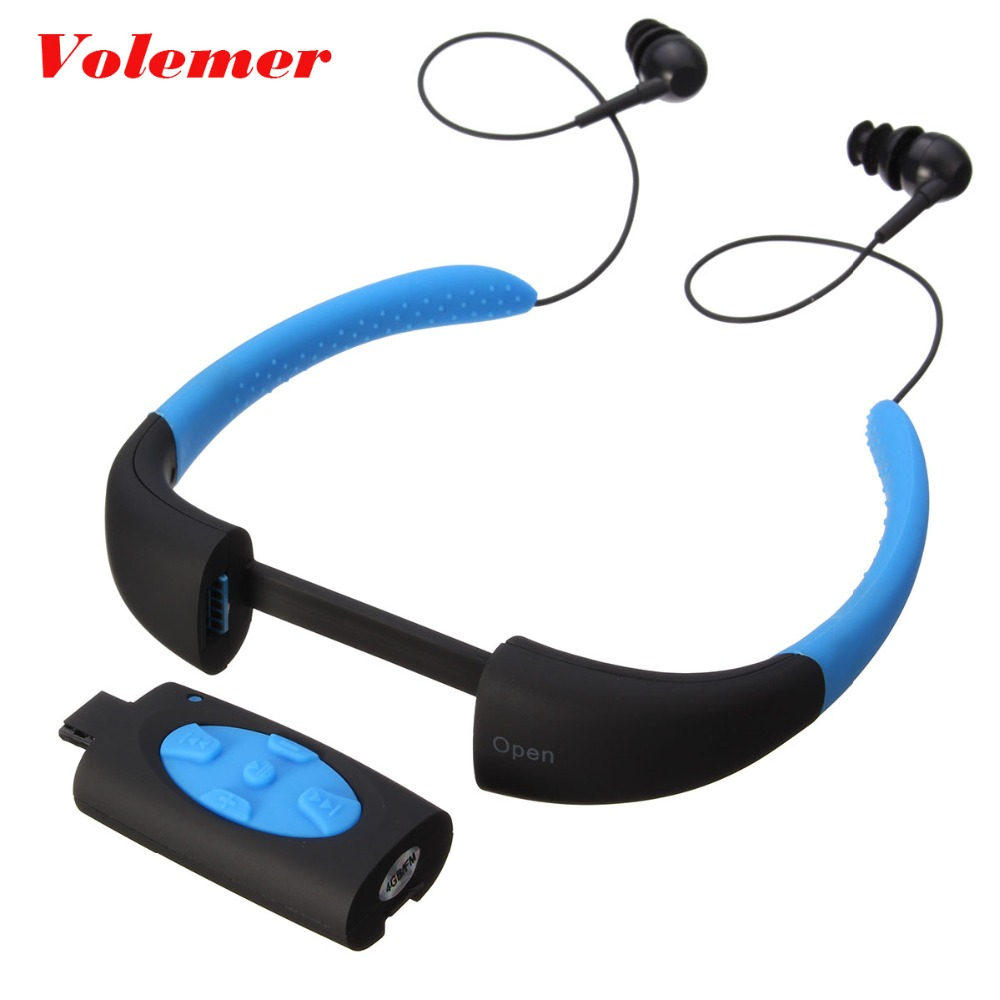 Volemer 4 Colors IPX8 Waterproof MP3 Player Headset Swimming Surfing SPA Diving Sports MP3 Player FM Radio Built in 4GB Memory ks 509 mp3 player stereo headset headphones w tf card slot fm black