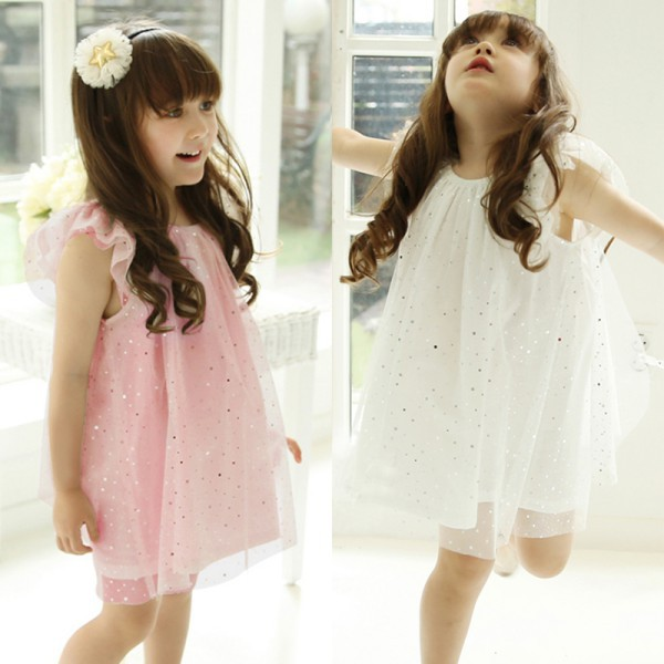 Baby Kid Girls Sleeveless One Piece Gauze Sequins Dress Party Tutu Dress
