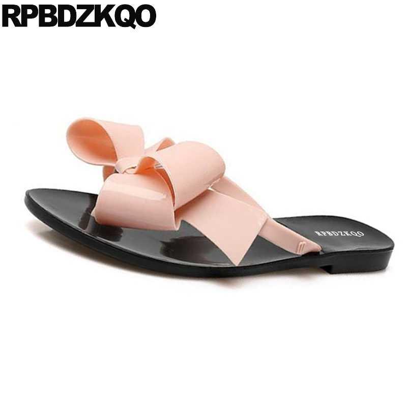 95b8b59c8 ... Female 2018 Large Size Shoes Pvc Plastic Slides Flip Flop Bowtie Jelly  Cute Women Sandals Flat