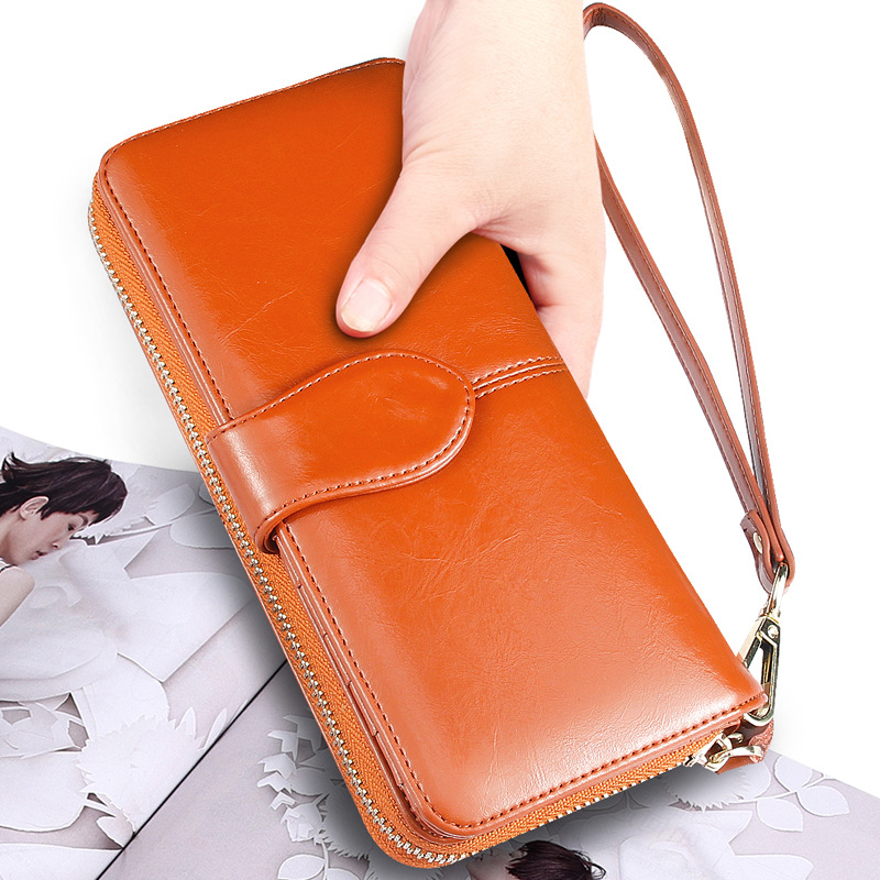 Hot Selling Many Departments Women Wallet High Quality Wristlet Clutch Wallet Female Card Holder Leather Ladies Long Purses 3