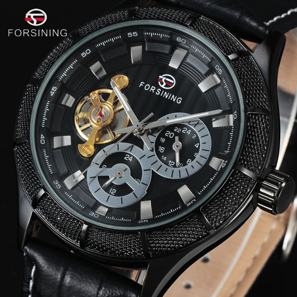 FORSINING Tourbillon Transparent Watches Men Luxury Brand Mechanical Military Watch Black Big Steampunk Automatic Wristwatches ultra luxury 2 3 5 modes german motor watch winder white color wooden black pu leater inside automatic watch winder