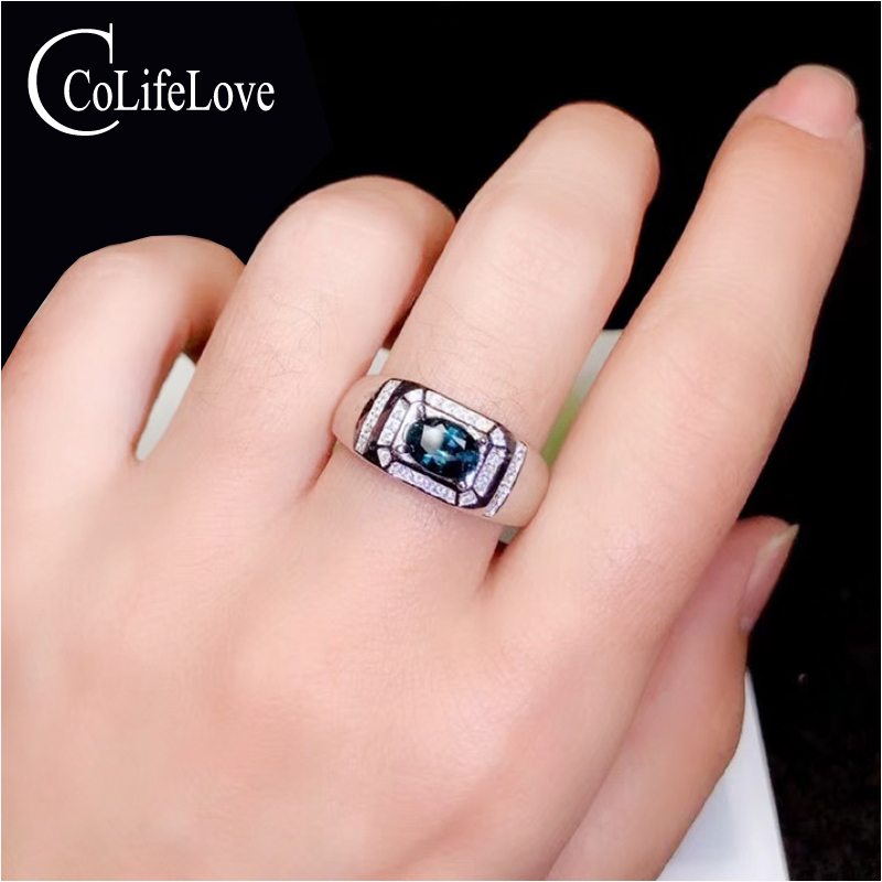 CoLife Jewelry Sapphire Ring For Man 0.8ct Natural Sapphire Man Silver Ring Solid 925 Silver Man Sapphire Gift For Biyfriend