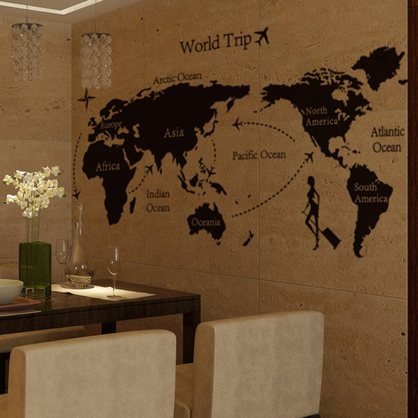 1 set 3055 inch removable pvc decals world trip world map art wall 1 set 3055 inch removable pvc decals world trip world map art wall stickers for bedroom art wall decorative poster ay9134 in wall stickers from home gumiabroncs Image collections