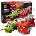 198 unids 10013 bela pixar cars hauler rojos 2 bloques de construcción de juguetes de bomberos de rescate de agua diy compatible con lego