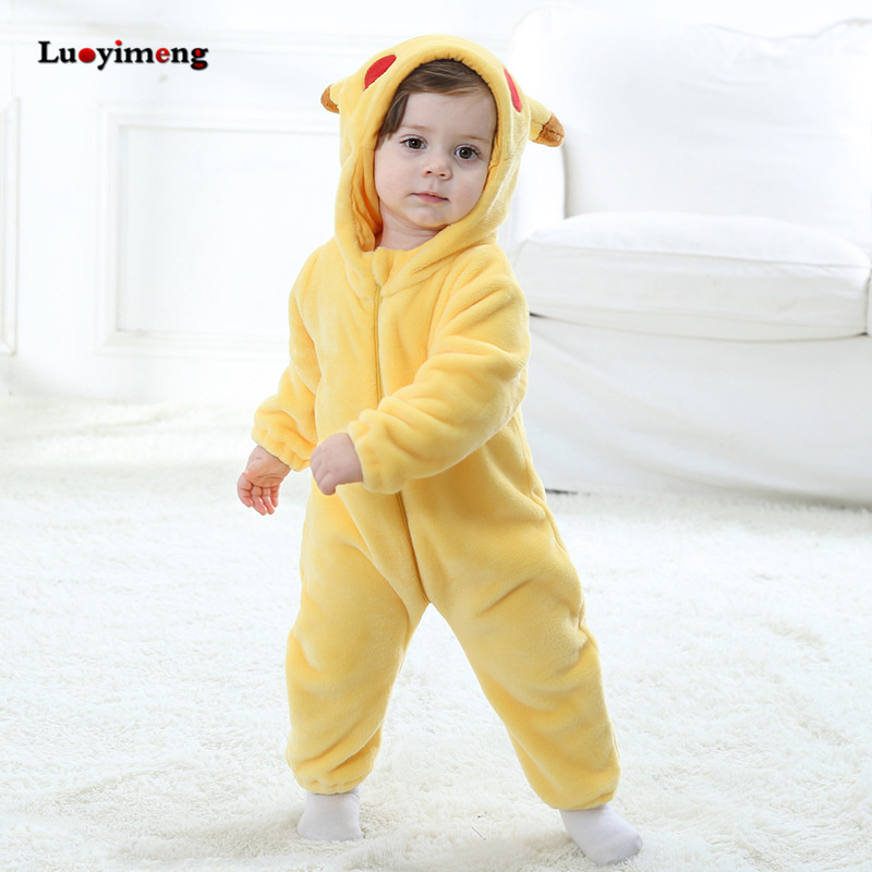 Image 5 - Baby Rompers Baby Girl Clothes Pikachu Kigurumi Kids Onesie Anime Cosplay Costume New Born Boy Pajama Flannel Warm Soft Jumpsuit-in Rompers from Mother & Kids