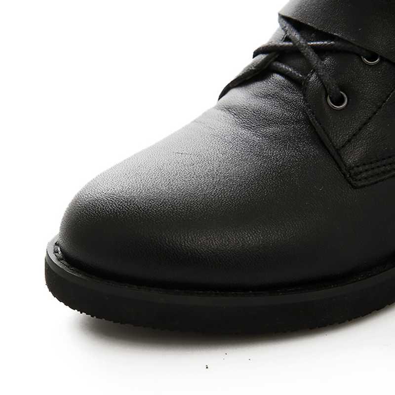 three Tape Black Tacón De Bien Five Moto Bajo Tape Botas Tobillo Encaje Negro Tamaño Mujer Grande Otoño Sarairis Punk Zapatos Remaches Primavera 43 35 WaRqSRx1gw