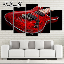 FULLCANG Full Square Diamond Embroidery Red Guitar Music 5PCS Diy Diamond Painting Cross Stitch Mosaic Needlework Kits G596 fullcang beauty full square diamond embroidery 5pcs diy diamond painting cross stitch mosaic kits g591