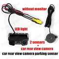 Video Parking Monitor system 2 sensors Night Vision Reversing Car Rear View Camera with buzzer alarm parking 2 in1