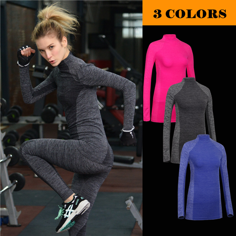 New 2018 indoor show thin sport long sleeve Gym tights high stretch quick dry running training T-shirt yoga Exercise T-shirts