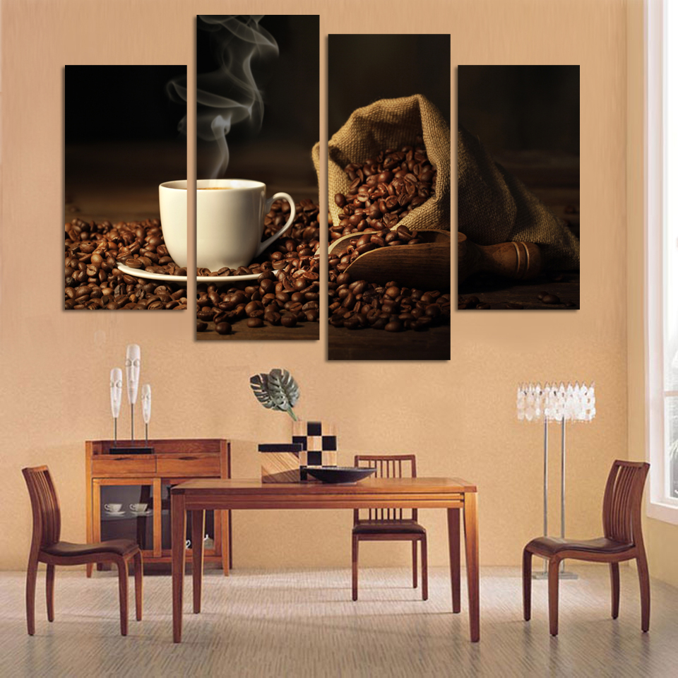 4 panels modern printed coffee canvas art painting modular for Kitchen wall art sets