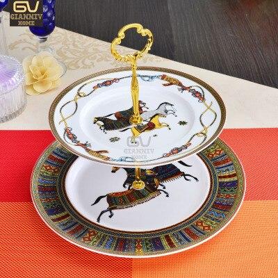 Assiettes à deux étages porcelaine cheval européen | Assiettes à gâteau assiette à fruits après-midi thé plateau en céramique vaisselle en porcelaine décoration