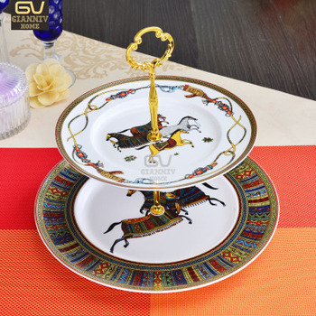 European Horse Bone China Double Decker Plates Cake Fruit Snack Plate Afternoon Tea Ceramic Tray Porcelain Tableware Decoration