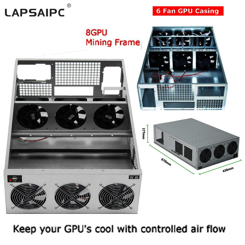 8U Deep server case 8 GPU Crypto Coin Open Air Mining Server Frame Rig Graphics Case ETH Ethereum New Computer Power For BTC 1600w atx power supply 14cm fan set for eth rig ethereum coin miner mining machine power computer power