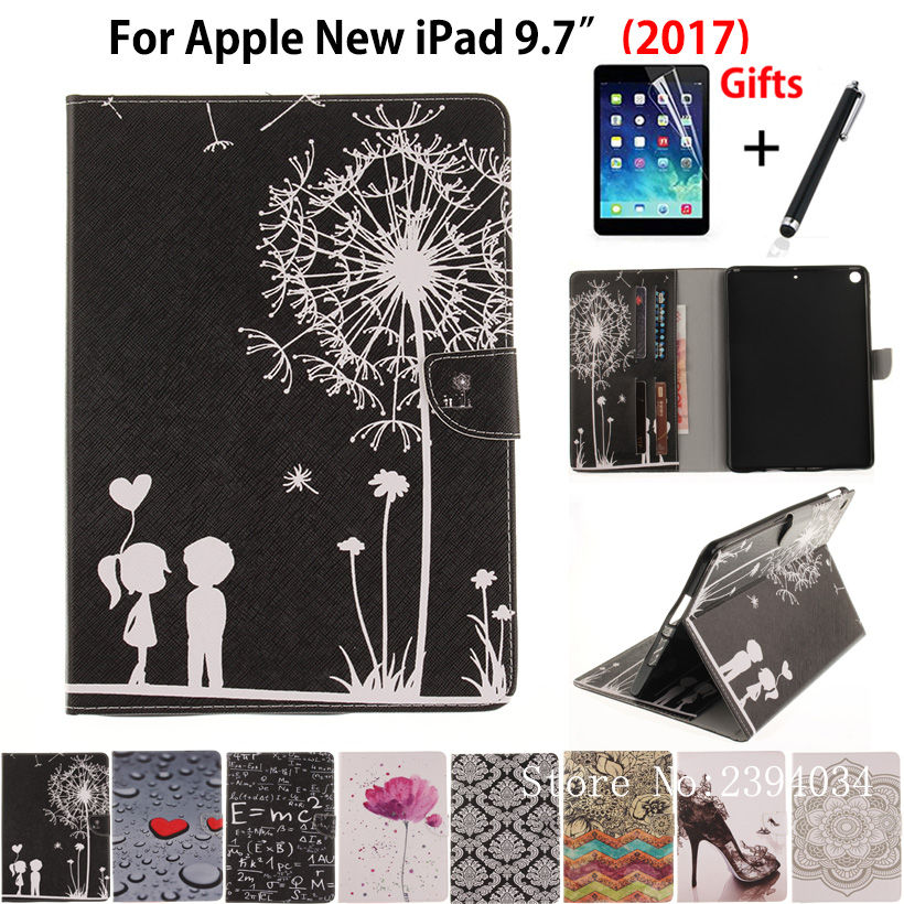 Popular Pattern Case For Apple New iPad 9.7 2017 Case Smart Cover With Card Slots Funda A1822 PU Leather Stand Shell+Stylus+film for apple ipad air 2 pu leather case luxury silk pattern stand smart cover