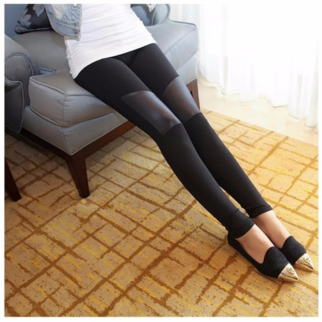 Hot Sale Sexy Fashion  Plus size  Women Leggings PU Leather Patchwork Slim Stretchy Elastic Waist Legging Trousers