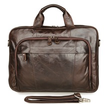 100% Genuine Vintage Leather Mens Coffee Briefcase Top Handle Laptop Bag Busiess 7334Q