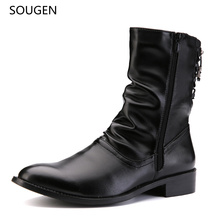 2016 Fashion Casual Men Boots Autumn Snow Black Tall Flat Work  Waterproof Spring Style Winter Men's Shoes Martin Brand Luxury