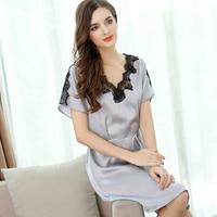 XL женские шелковые трусы 2017 Лето новые модные женские брендовые красный сплошной цвет большой сексуальный кружева шелка сна и Lounge Ночь пижа