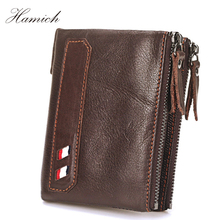 Hamich Vintage High Quality Guarantee Lether Wallet Carteira Masculina Genuine Leather Wallet Men Purses Cowhide Wallets