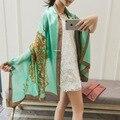2016 Colores de Moda cadenas Mecánicas de Impresión Bufandas Mujeres de la Alta Calidad 100% Bufanda de Seda de la Marca de Las Señoras Accesorios