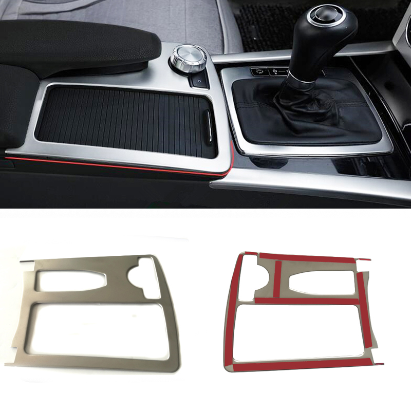 Water cup holder panel cover gear shift panel decorative strip sticker accessories for Mercedes Benz W204 W212 C200 C180 C Class